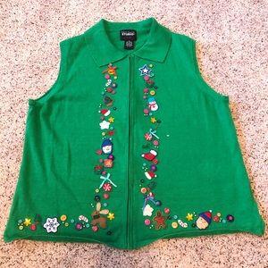 Ugly Christmas Appliqué Sweater Vest—XL